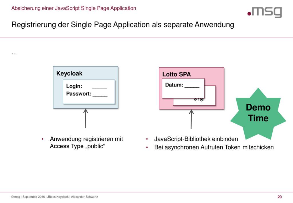 … Registrierung der Single Page Application als...
