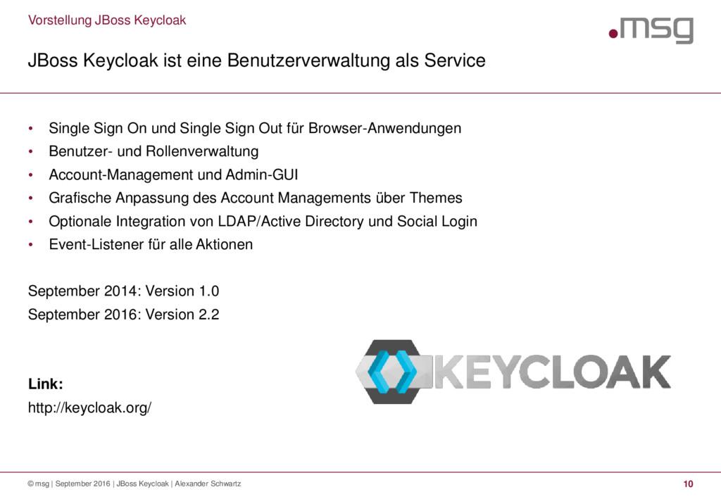 Vorstellung JBoss Keycloak JBoss Keycloak ist e...