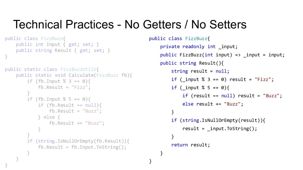 Technical Practices - No Getters / No Setters p...