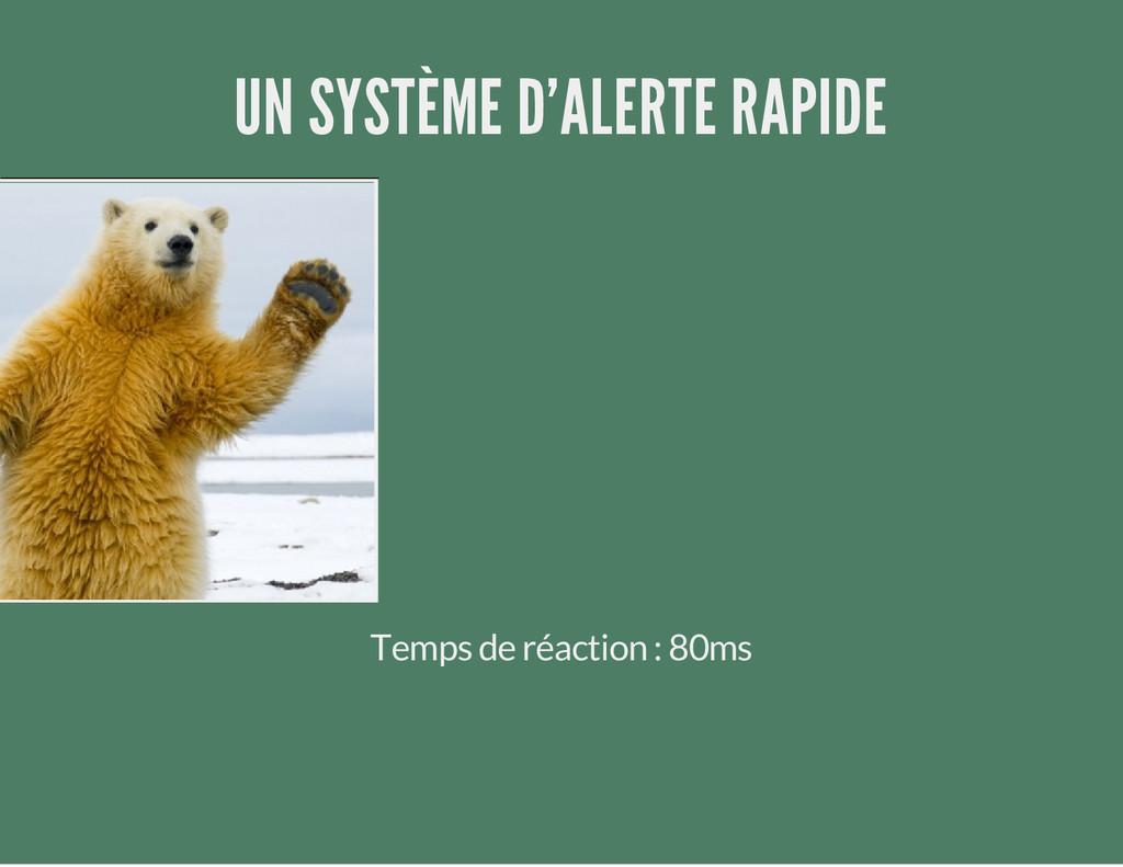 UN SYSTÈME D'ALERTE RAPIDE Temps de réaction : ...