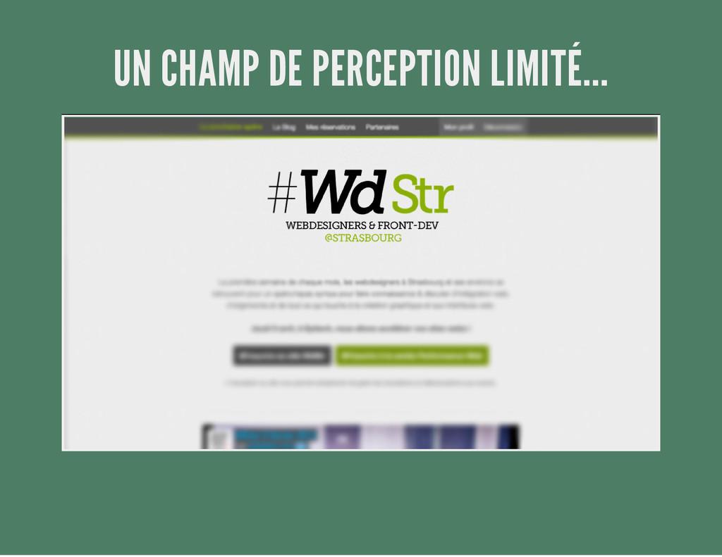 UN CHAMP DE PERCEPTION LIMITÉ...