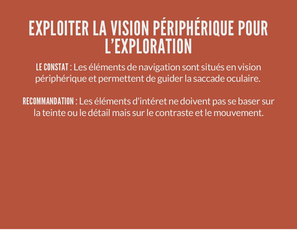 EXPLOITER LA VISION PÉRIPHÉRIQUE POUR L'EXPLORA...
