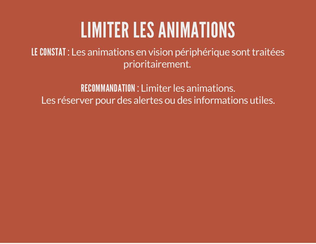 LIMITER LES ANIMATIONS LE CONSTAT : Les animati...