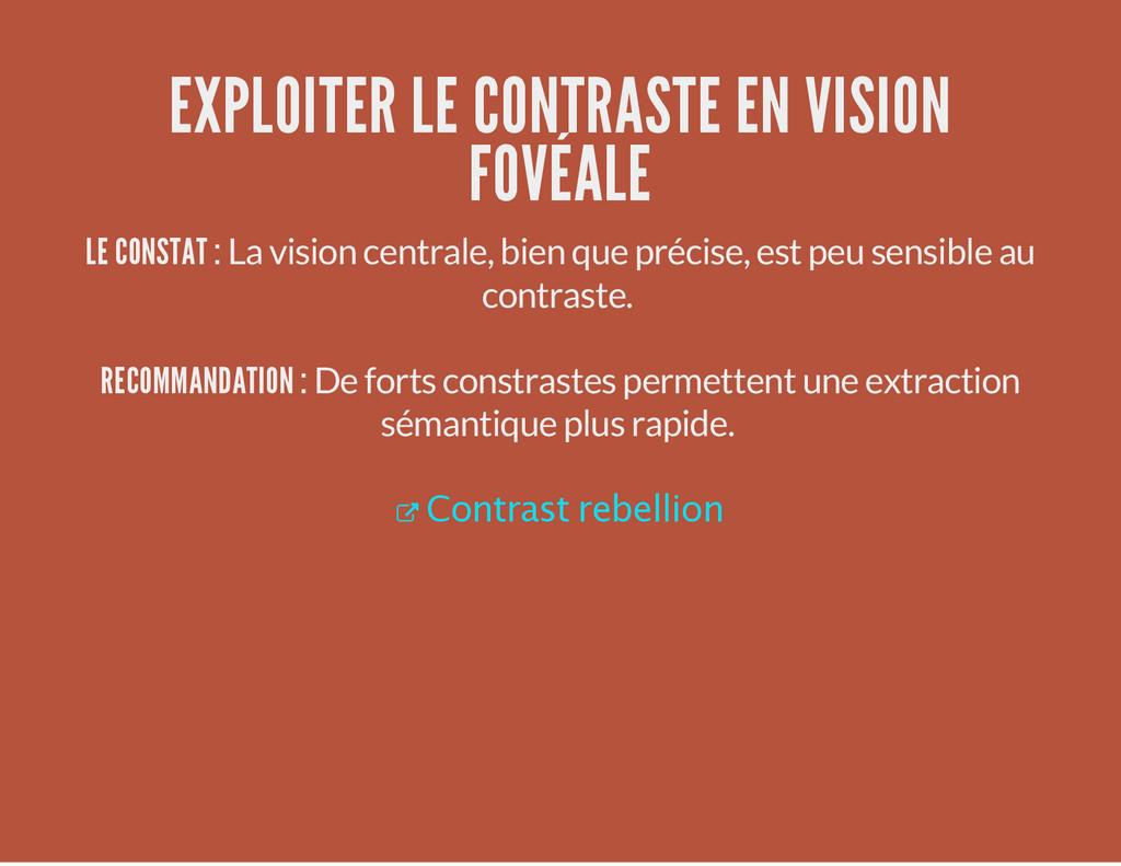 EXPLOITER LE CONTRASTE EN VISION FOVÉALE LE CON...