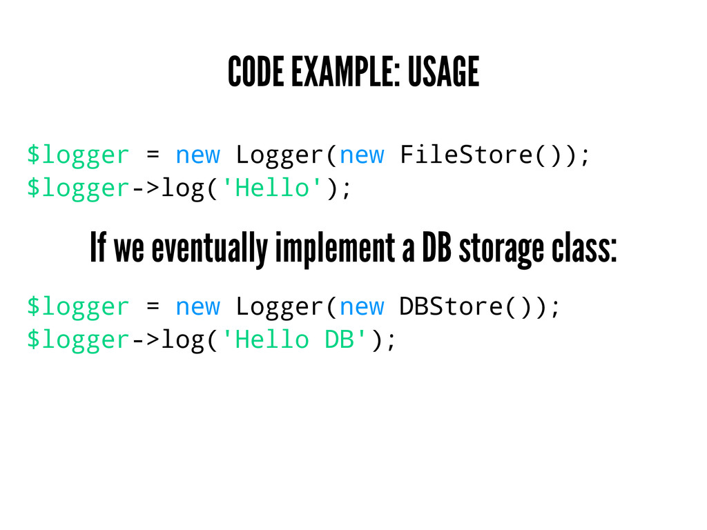 CODE EXAMPLE: USAGE $logger = new Logger(new Fi...