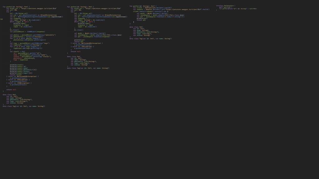 "interface PetInterface { @GET(""pet/{id}"") fun g..."
