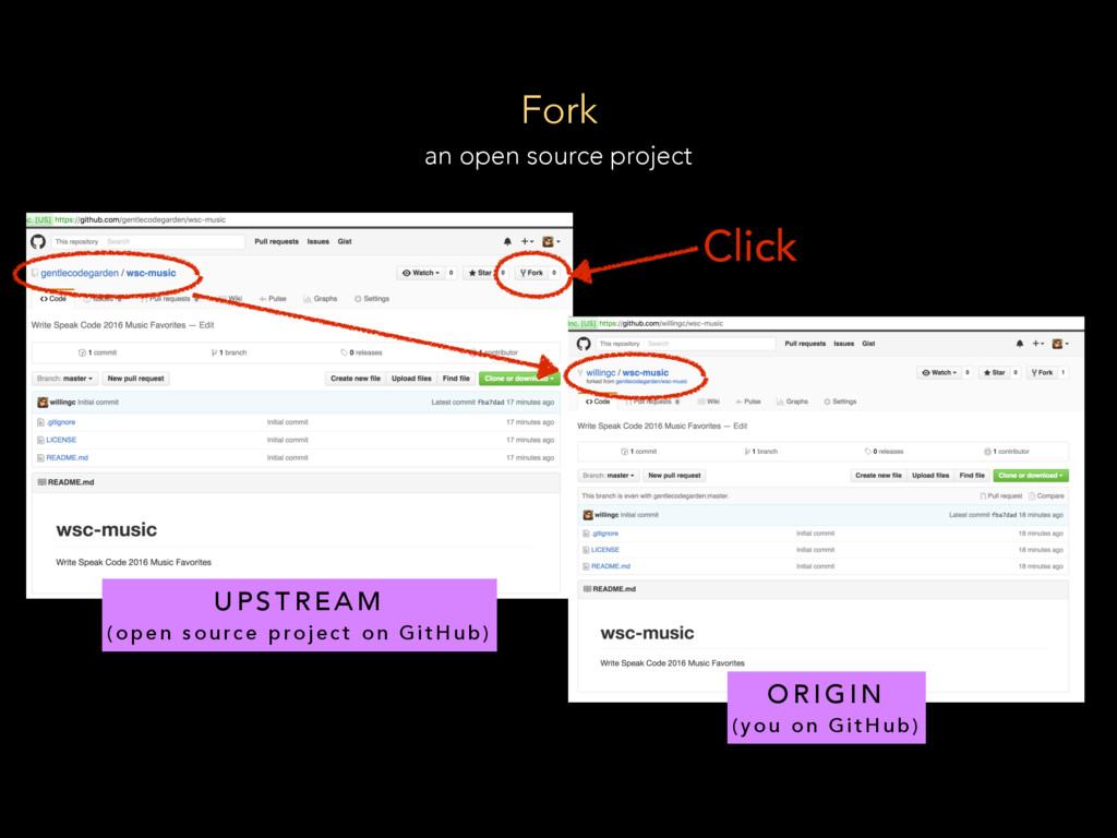 Fork an open source project O R I G I N ( y o u...