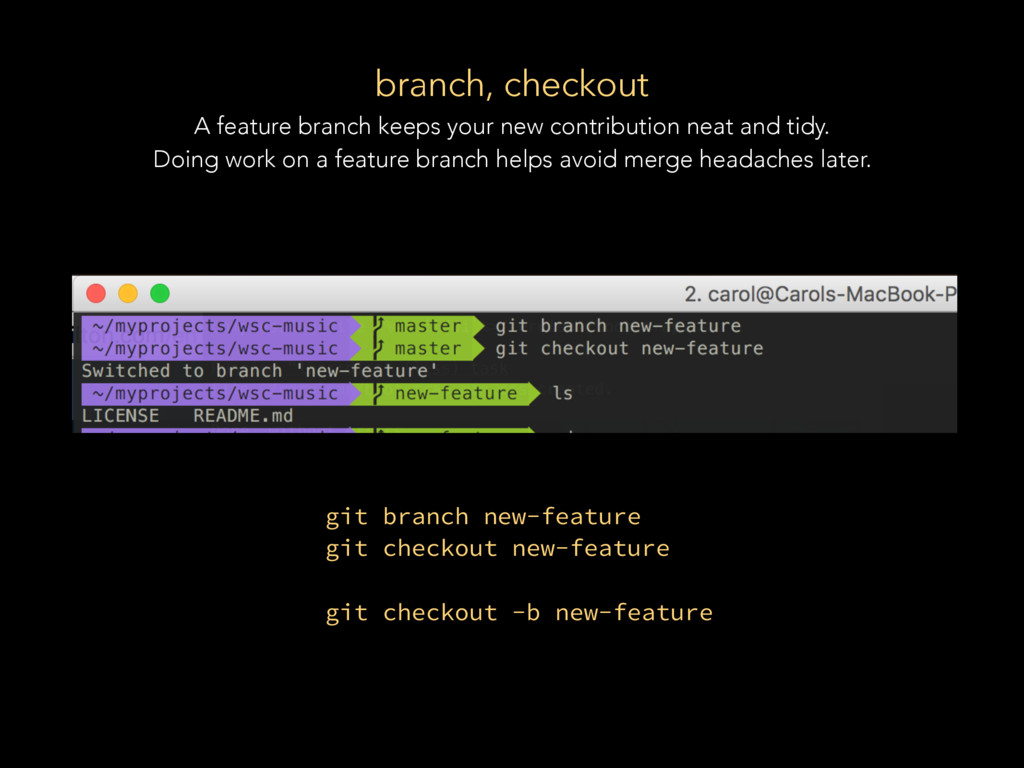 branch, checkout A feature branch keeps your ne...