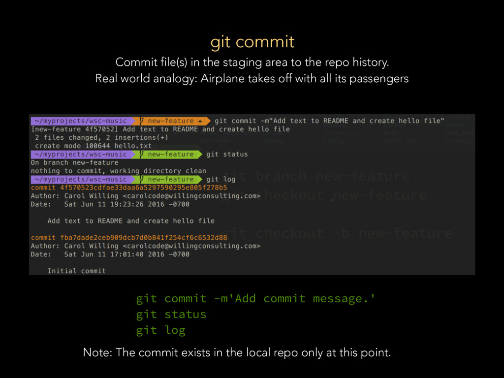 git commit Commit file(s) in the staging area t...
