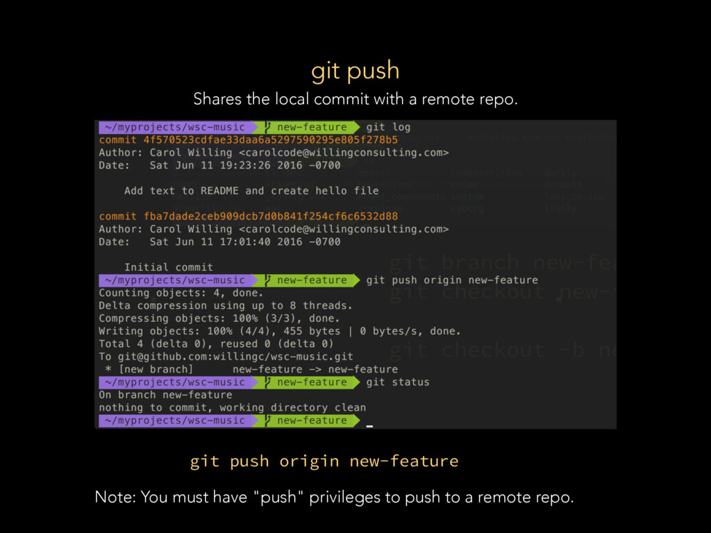 git push Shares the local commit with a remote ...