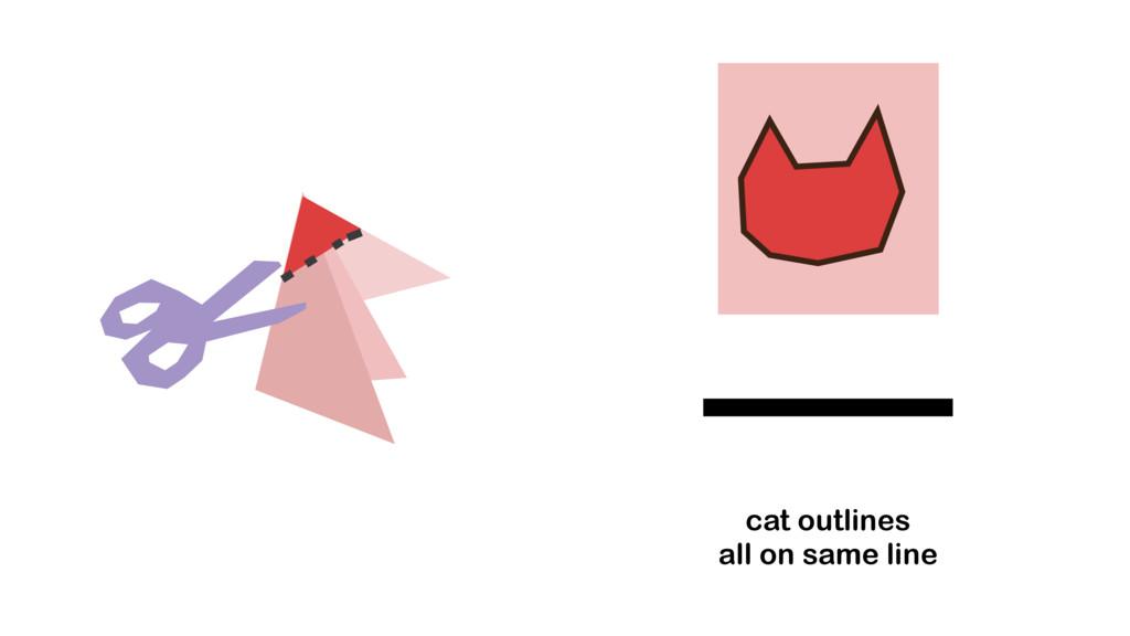 cat outlines all on same line