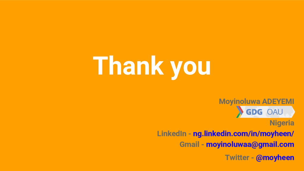 Thank you Moyinoluwa ADEYEMI Nigeria LinkedIn -...