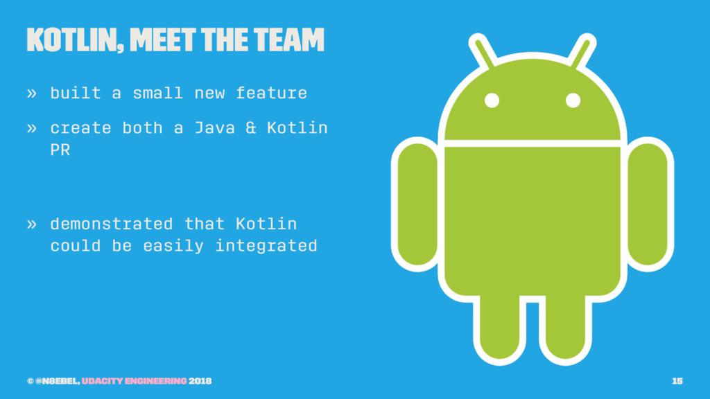 Kotlin, Meet the Team » built a small new featu...