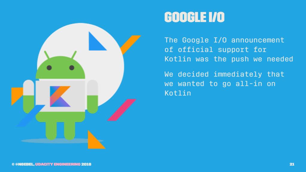 Google I/O The Google I/O announcement of offici...