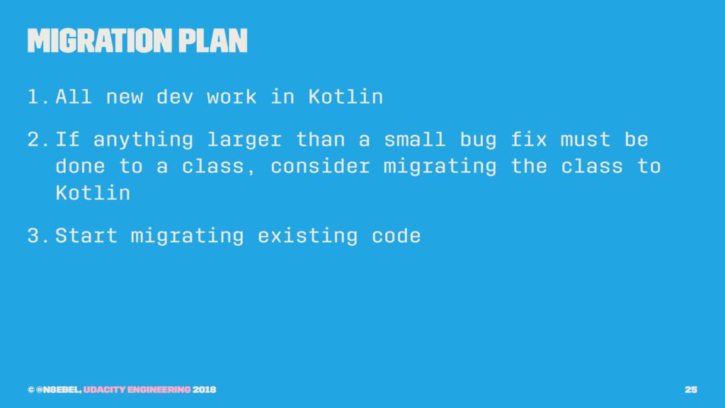 Migration Plan 1.All new dev work in Kotlin 2.I...