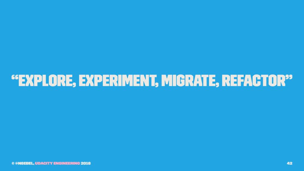 """Explore, experiment, migrate, refactor"" © @n8e..."