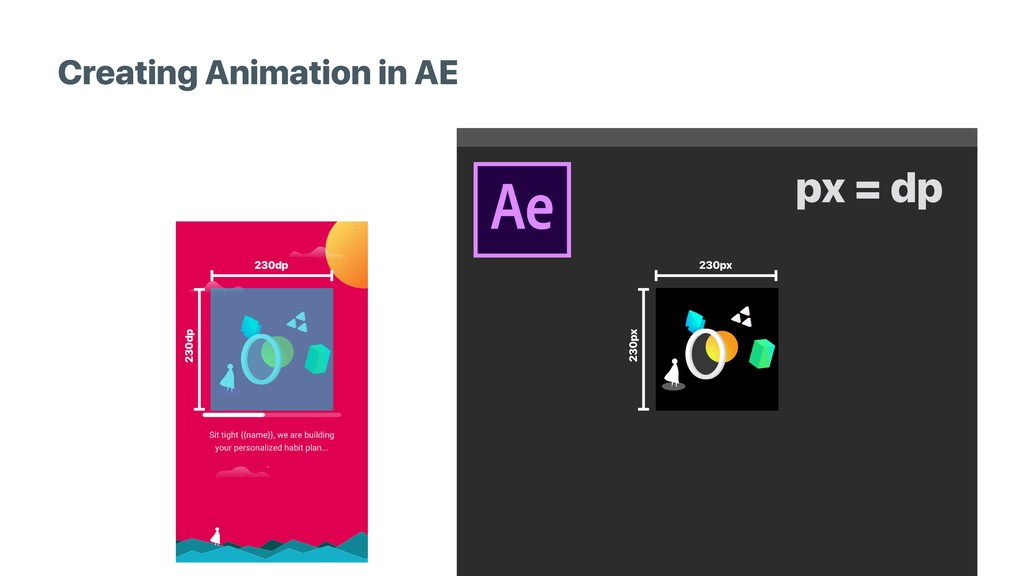 Creating Animation in AE 230dp 230dp 230px 230p...