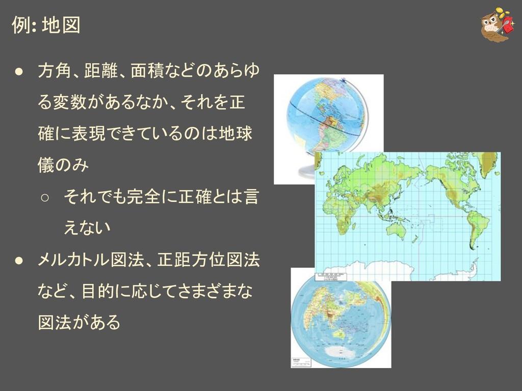 例: 地図 ● 方角、距離、面積などのあらゆ る変数があるなか、それを正 確に表現できているの...
