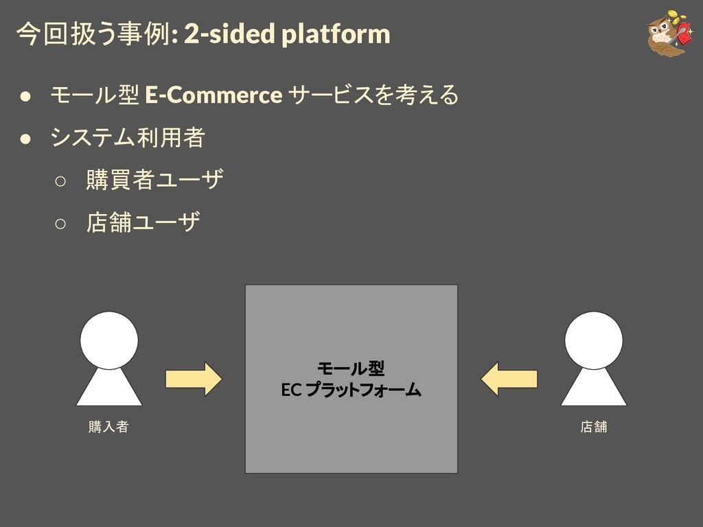 今回扱う事例: 2-sided platform ● モール型 E-Commerce サービス...