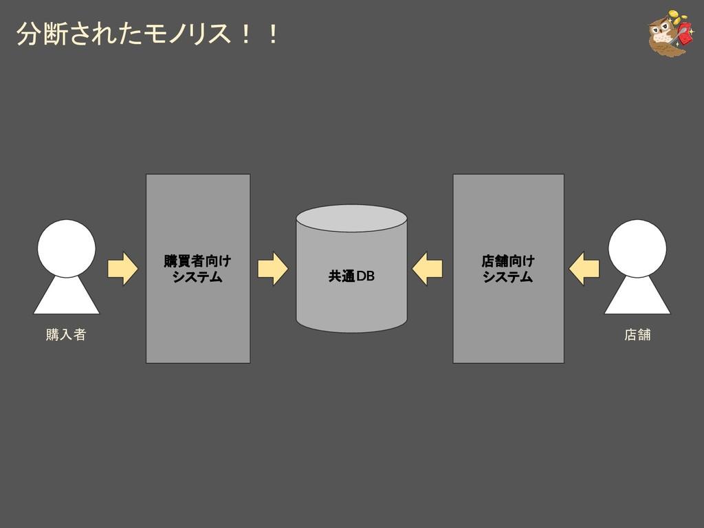 分断されたモノリス!! 購買者向け システム 購入者 店舗 店舗向け システム 共通DB
