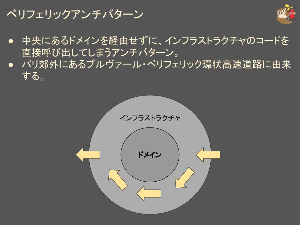 ペリフェリックアンチパターン ● 中央にあるドメインを経由せずに、インフラストラクチャのコード...