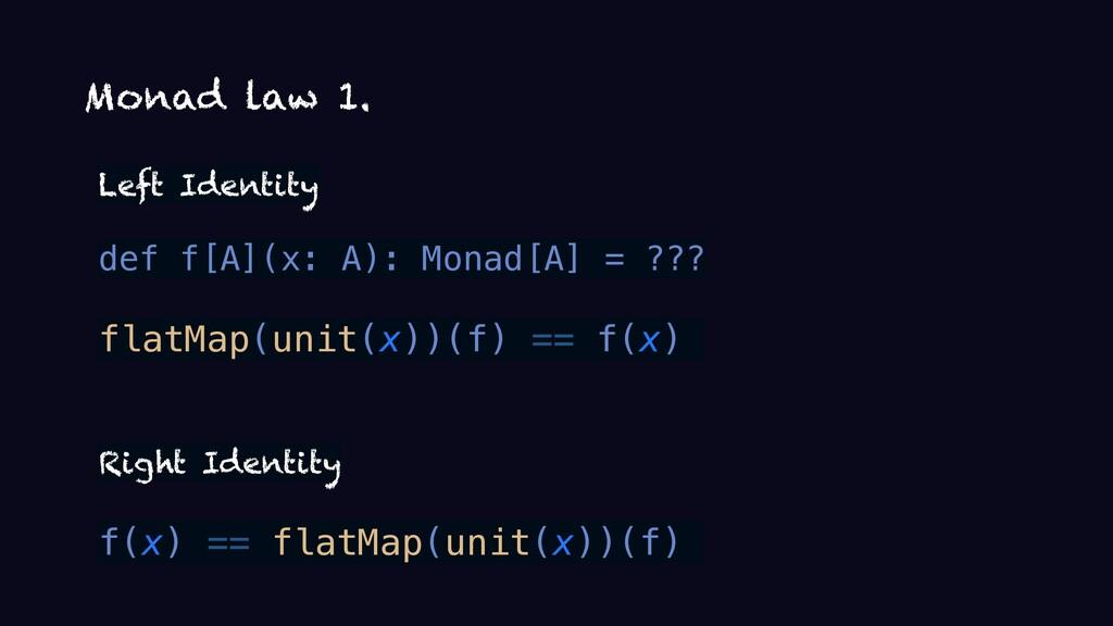 Monad law 1. Left Identity def f[A](x: A): Mona...