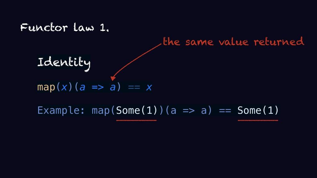 Functor law 1. Identity map(x)(a => a) == x Exa...