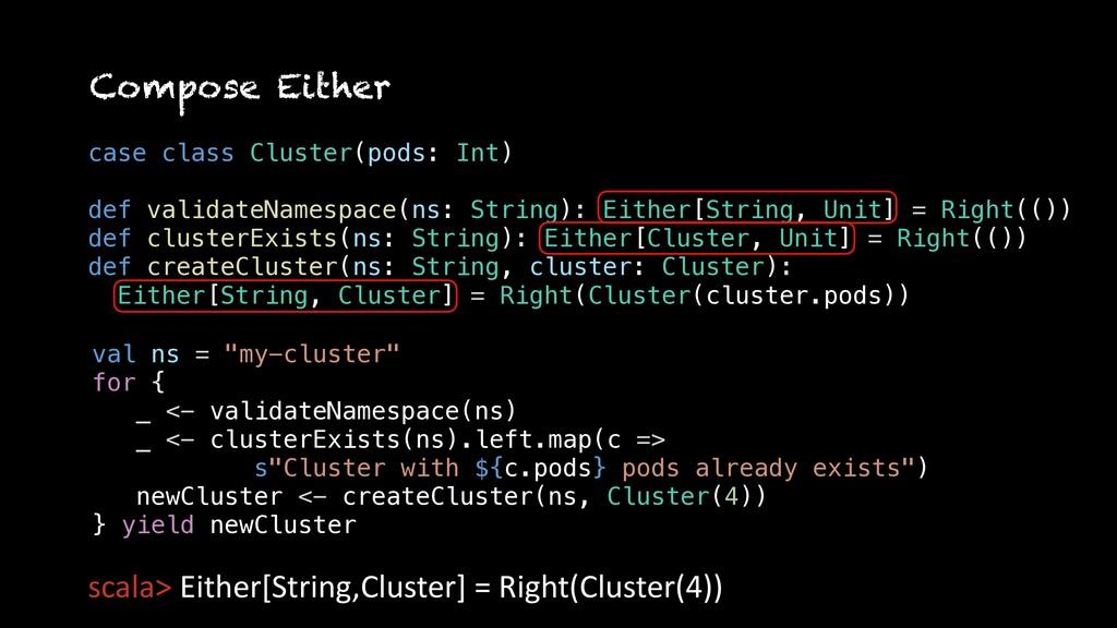 case class Cluster(pods: Int) def validateNames...