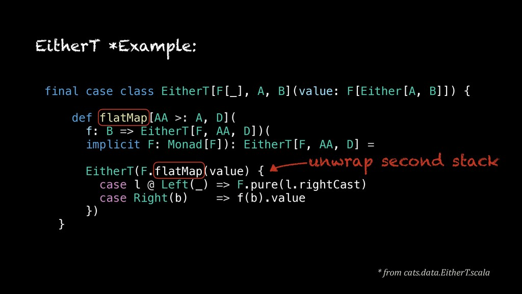 EitherT *Example: unwrap second stack * from ca...
