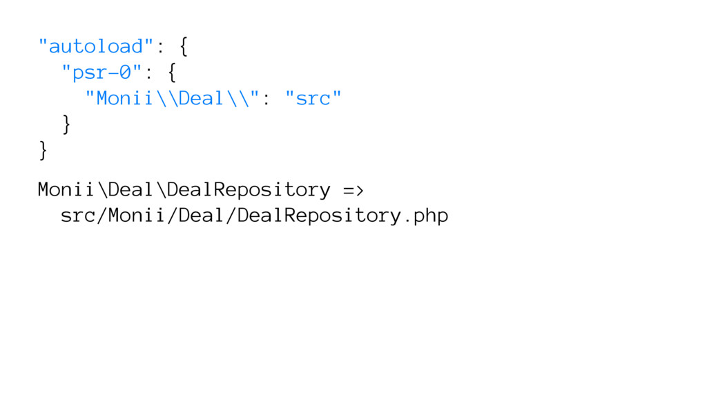 """autoload"": { ""psr-0"": { ""Monii\\Deal\\"": ""src""..."