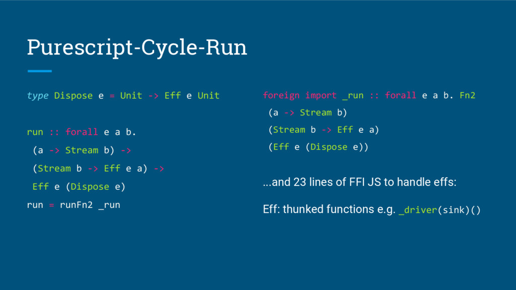 Purescript-Cycle-Run type Dispose e = Unit -> E...
