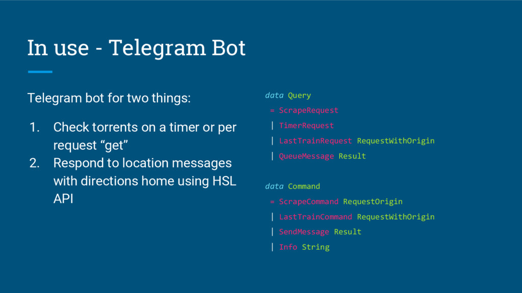 In use - Telegram Bot Telegram bot for two thin...