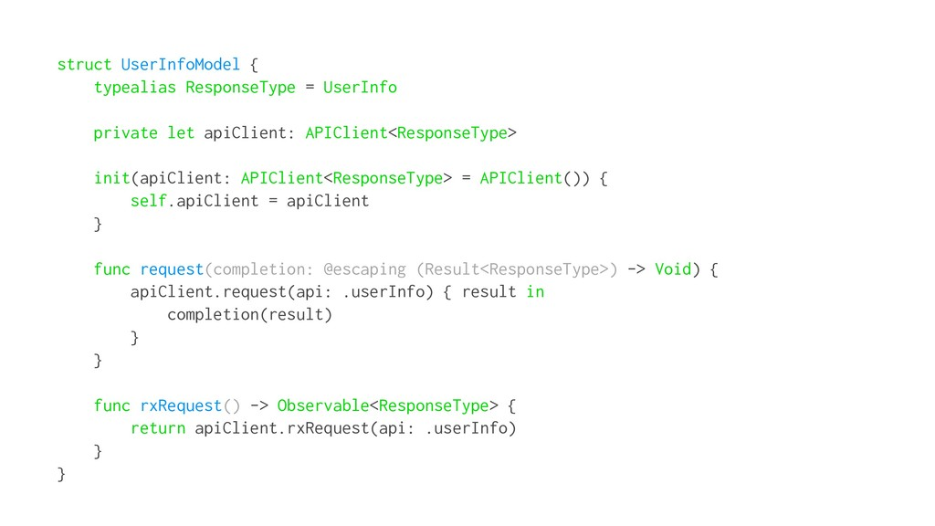 struct UserInfoModel { typealias ResponseType =...