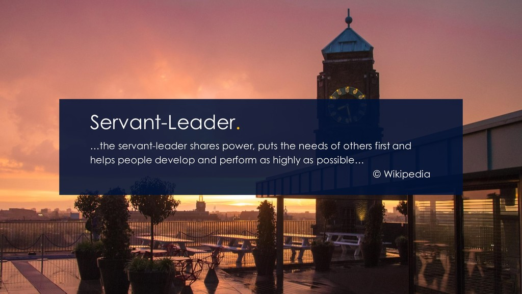 …the servant-leader shares power, puts the need...