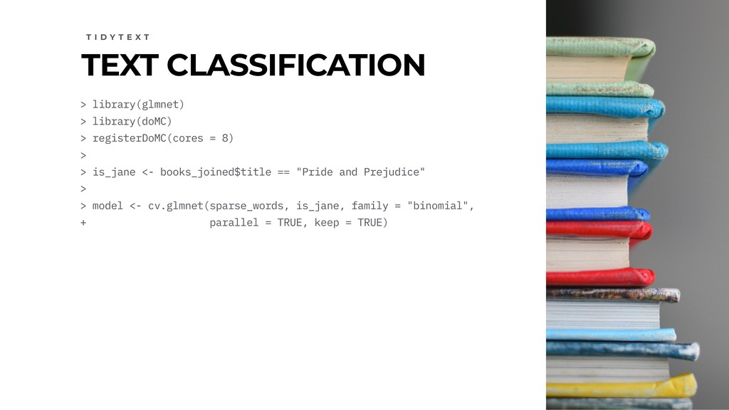TEXT CLASSIFICATION T I D Y T E X T > library(g...