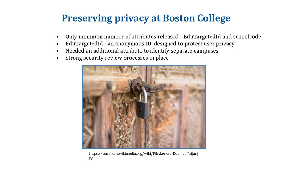 Preserving privacy at Boston College • Only min...