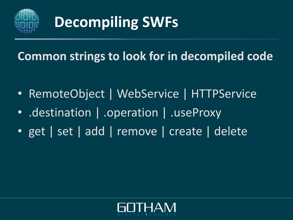 Decompiling SWFs Common strings to look for in ...