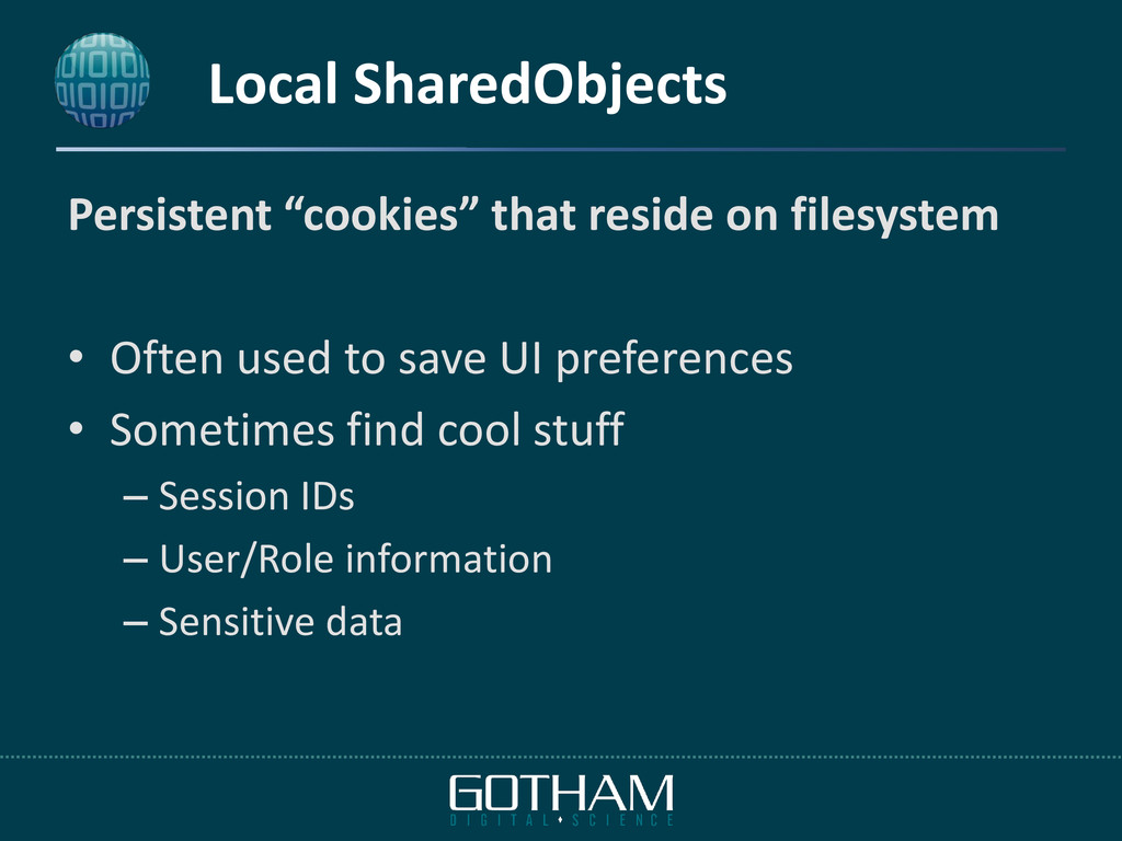 """Local SharedObjects Persistent """"cookies"""" that r..."""