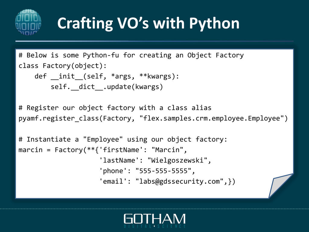 Crafting VO's with Python # Below is some Pytho...