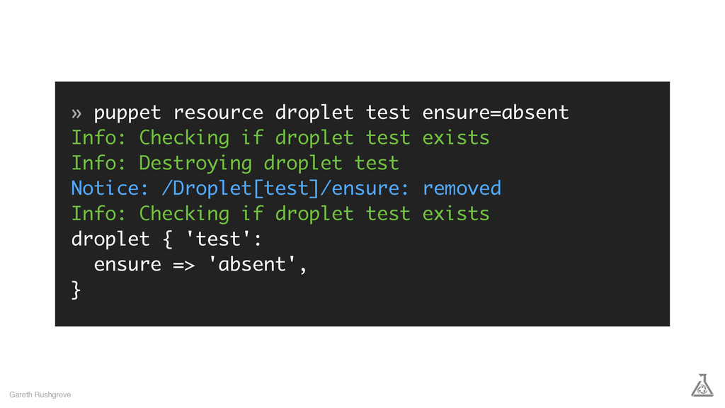 » puppet resource droplet test ensure=absent In...