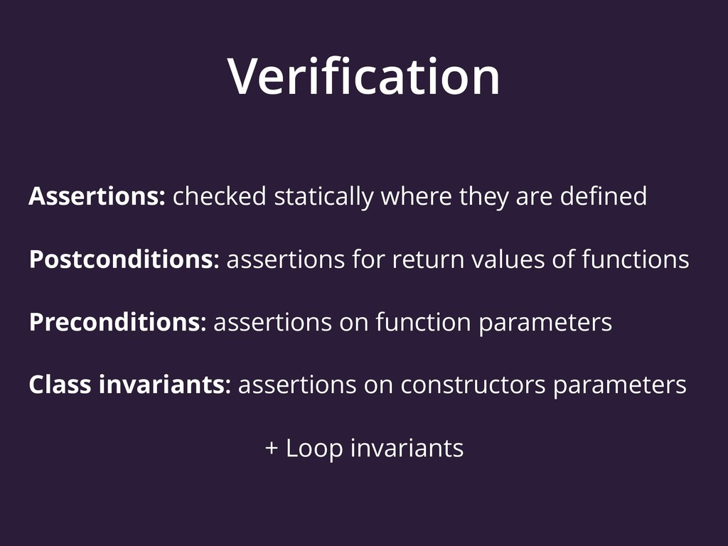 Verification Assertions: checked statically wher...
