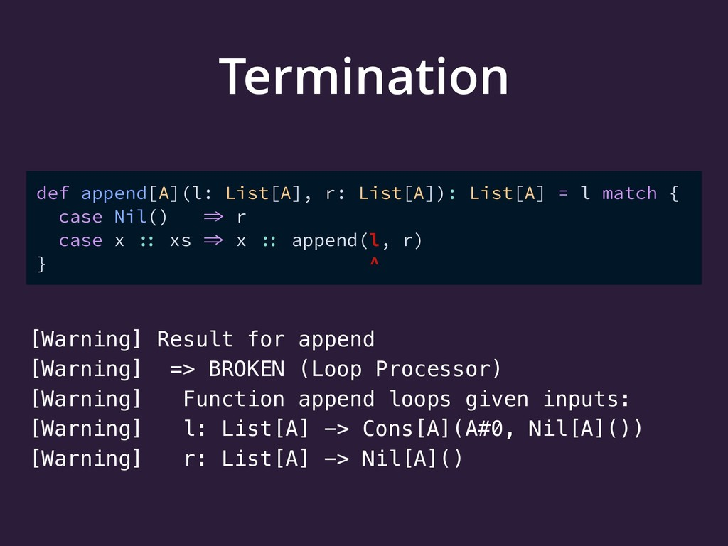 Termination [Warning] Result for append