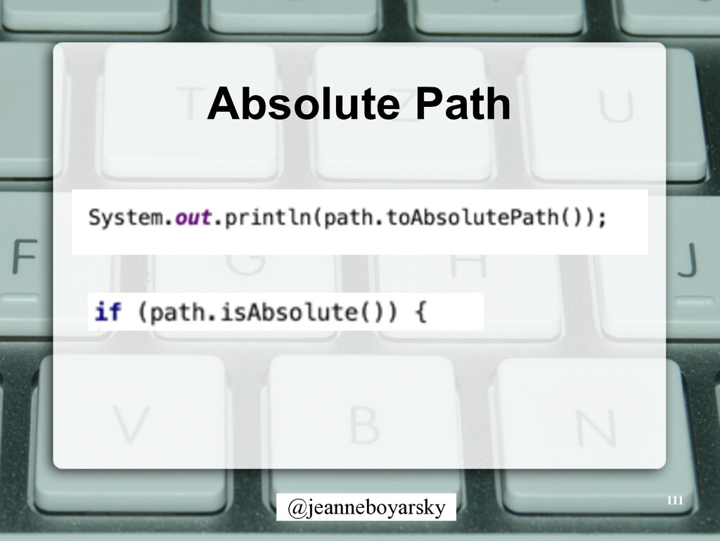 @jeanneboyarsky Absolute Path 111