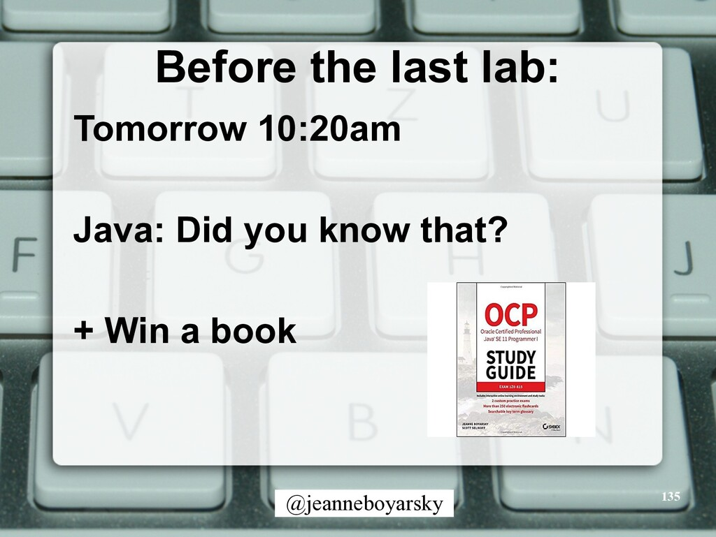 @jeanneboyarsky Before the last lab: Tomorrow 1...