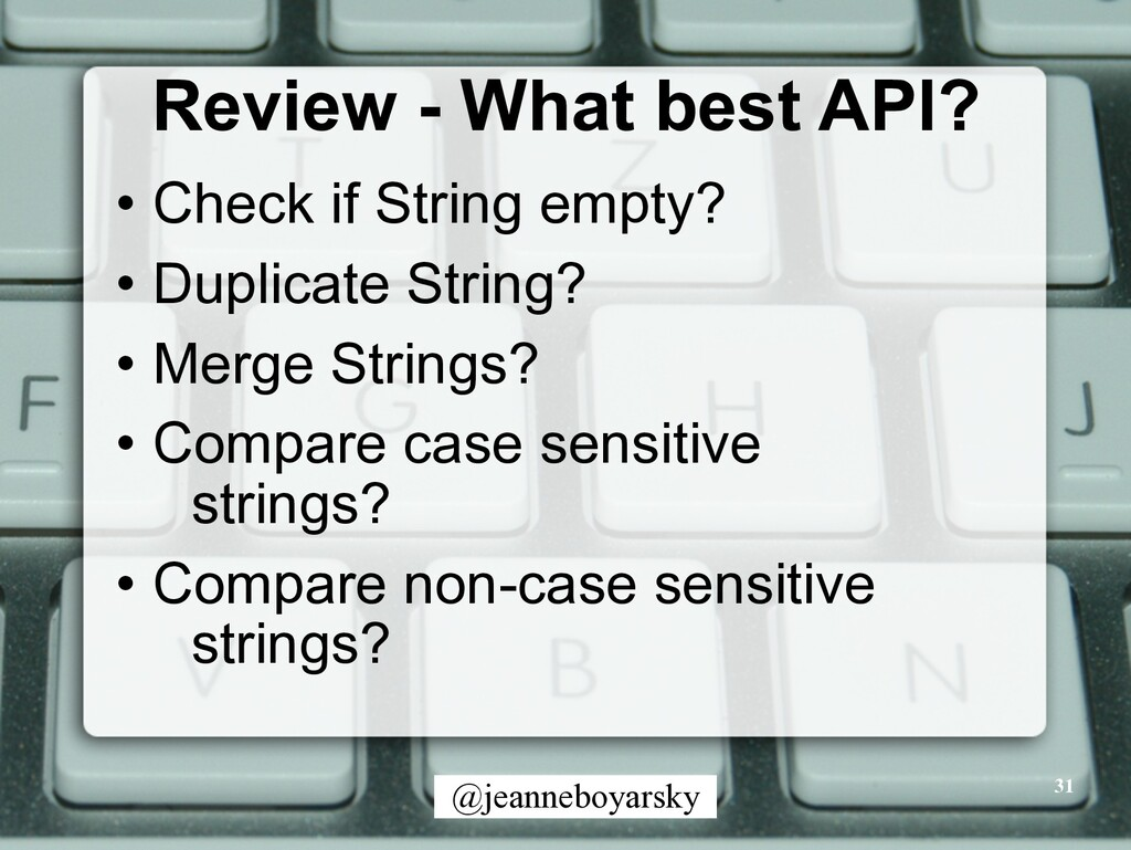 @jeanneboyarsky Review - What best API? • Check...