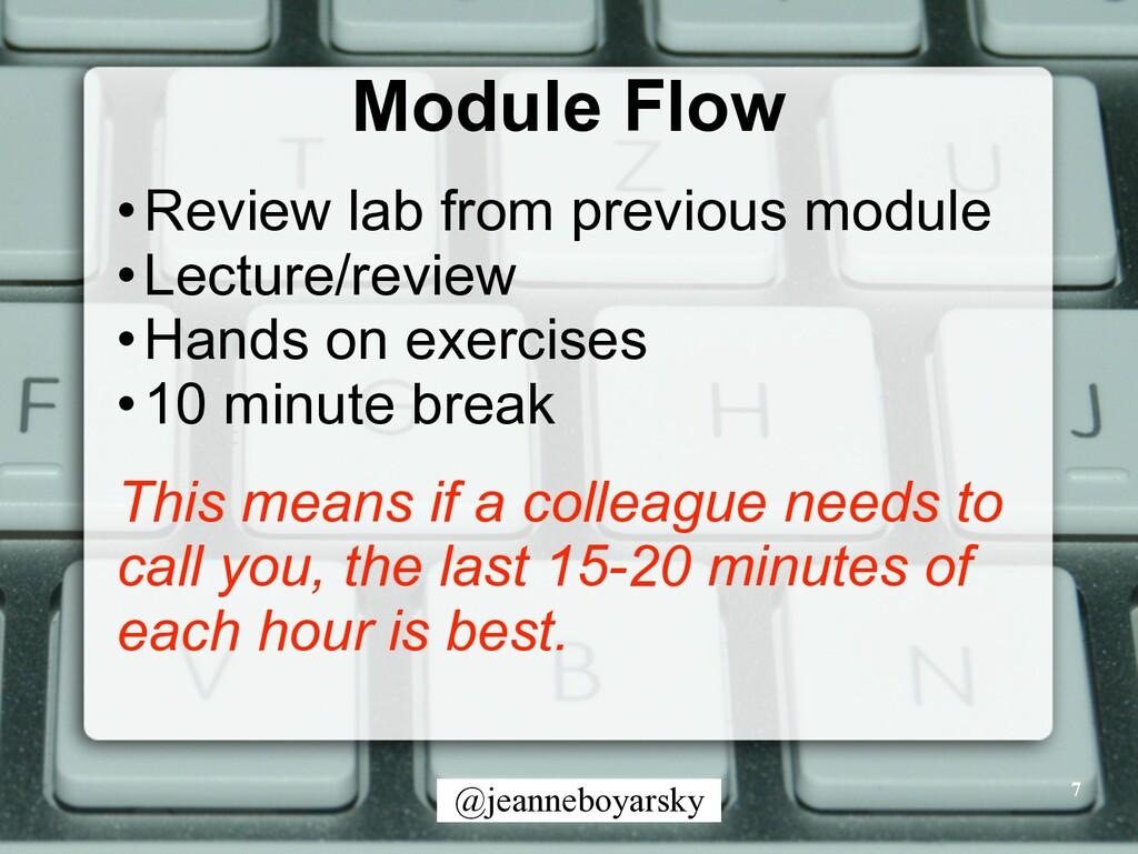 @jeanneboyarsky Module Flow •Review lab from pr...