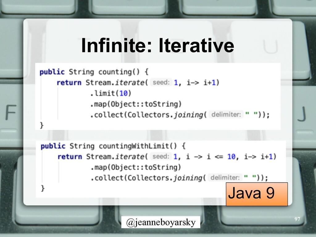 @jeanneboyarsky Infinite: Iterative 97 Java 9