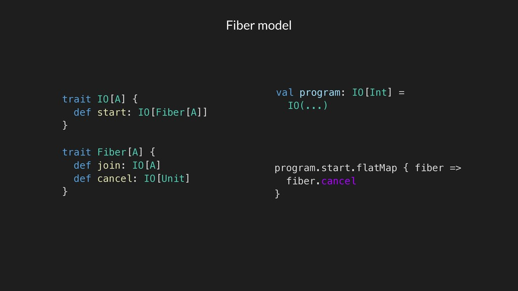 Fiber model trait IO[A] { def start: IO[Fiber[A...