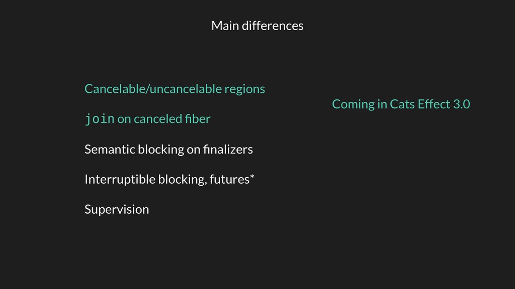 Main differences Cancelable/uncancelable region...