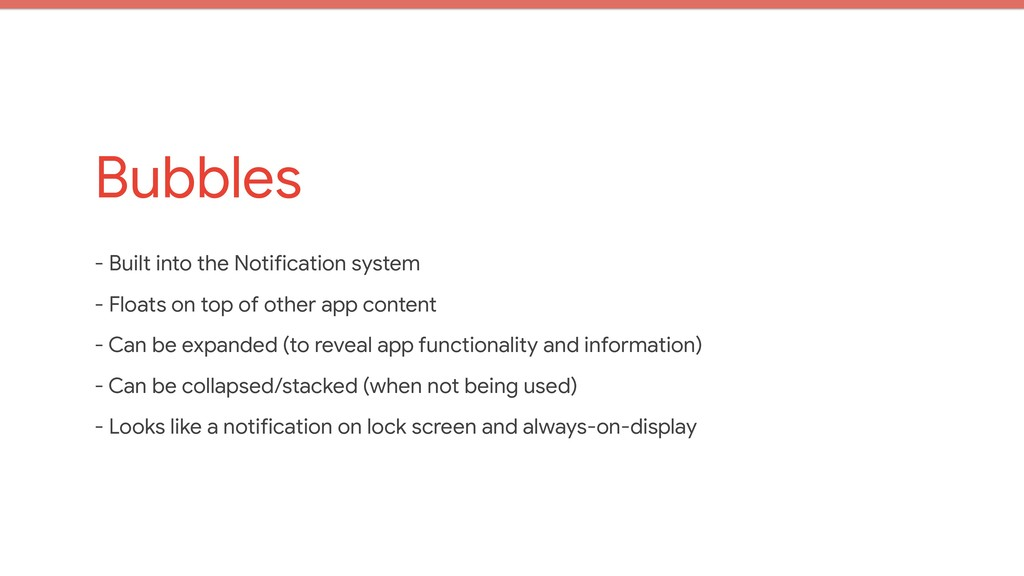Bubbles - Built into the Notification system  -...